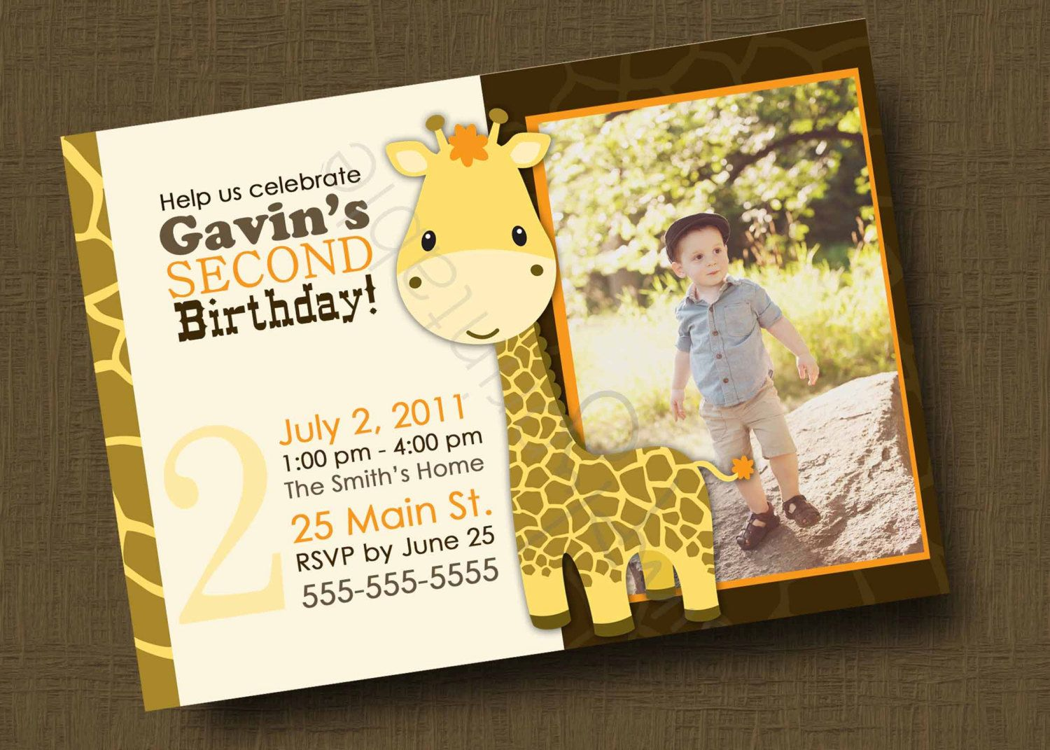 Giraffe Birthday Invitation for Boys or Girls (Printable Digital ...