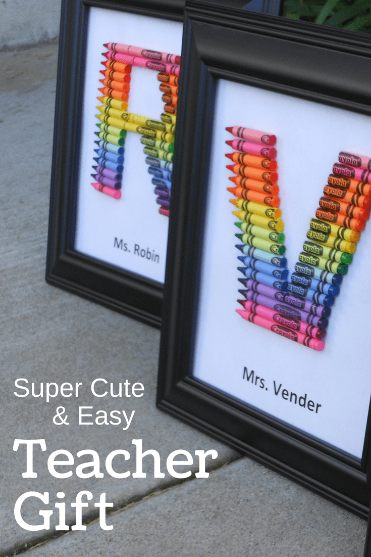 homemade teacher gift... how to make a crayon monogram #teachergifts