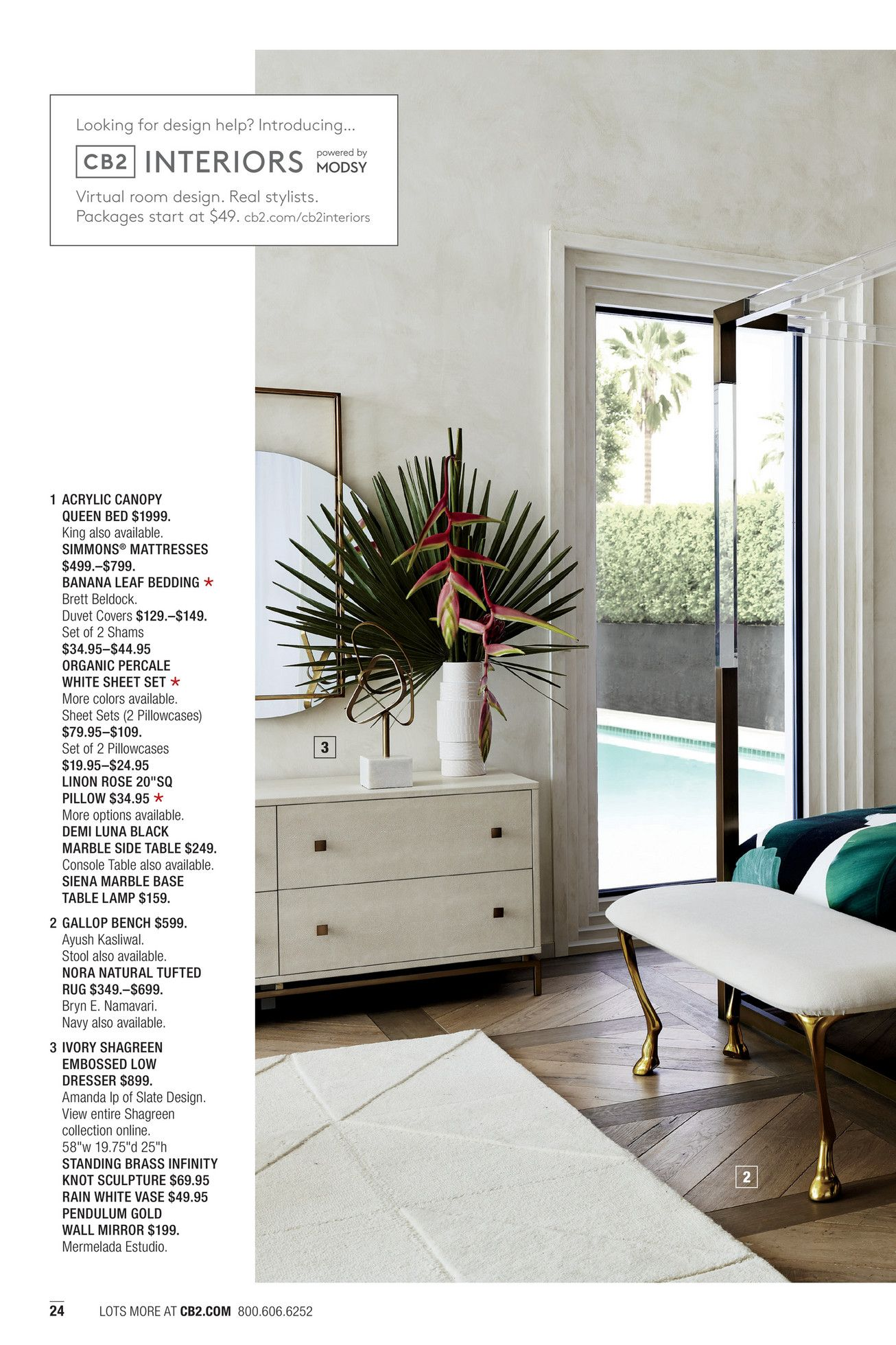 CB2 June Catalog 2018 Page 2425 Queen canopy bed
