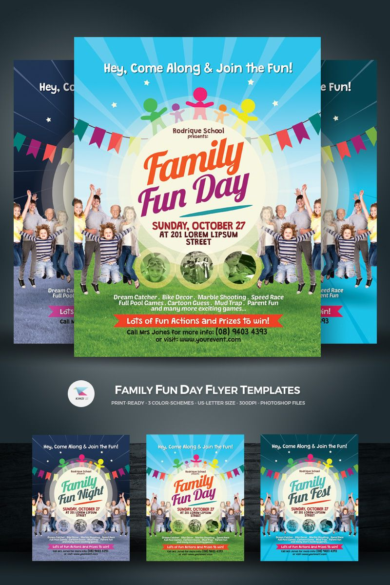 family fun day flyer corporate identity template design saves