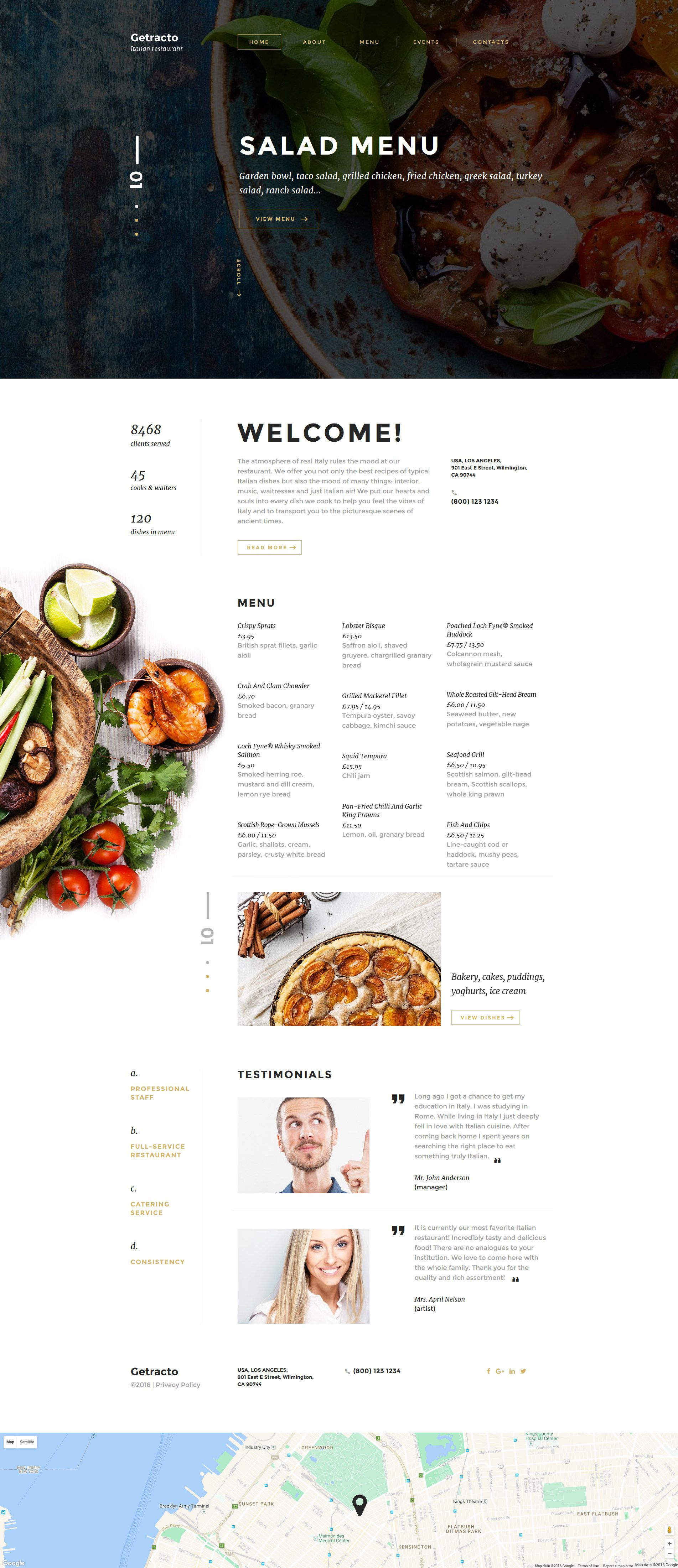 Italian Restaurant Responsive Website Template New Website