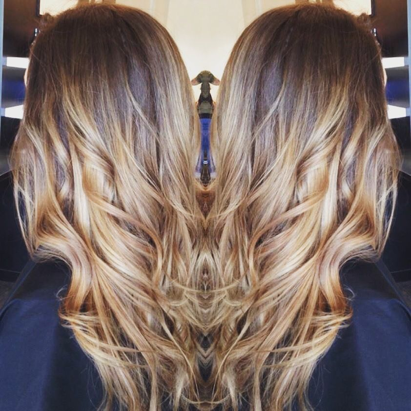 Cool, deep base with honey hand painted hilites by Laura. #hair #haircut #hairstyle #haircolor #fallhair #hairinspiration #hilites #ombre