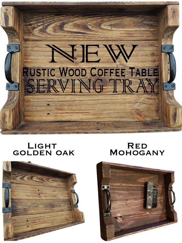 This handcrafted rustic wood coffee table serving tray is ...