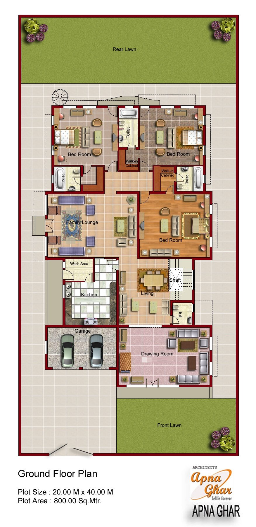 2D Floor plan for modern duplex (2 Floor) house. Area: 800