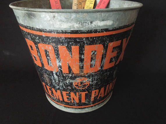 Old Metal Pail Galvanized Bucket Bondex Industrial Decor | Metal pail, Galvanized buckets, Etsy ...