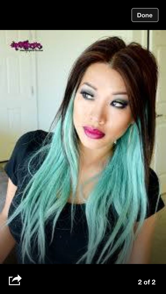black and aqua ombr hair