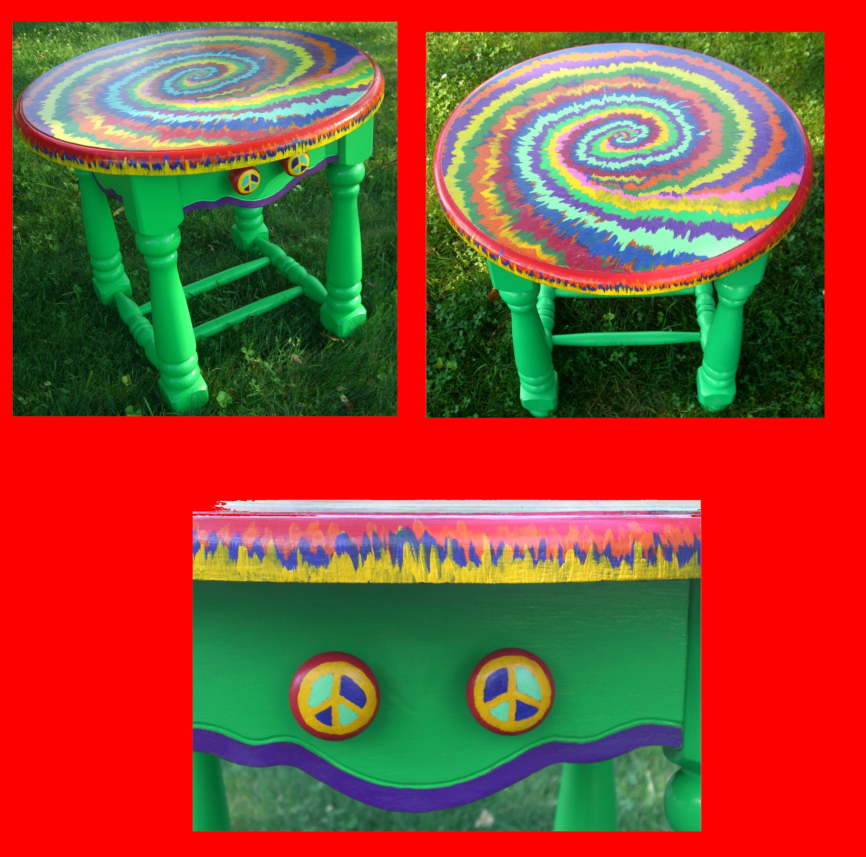 Radiant Hand Painted Side Table Night Stand Or End Vibrantly Colored Tie Hand Painted Side Table Night Stand Or End Vibrantly Colored Ark Wiki Dye Table