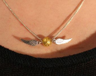 Golden snitch necklace Harry Potter Quidditch