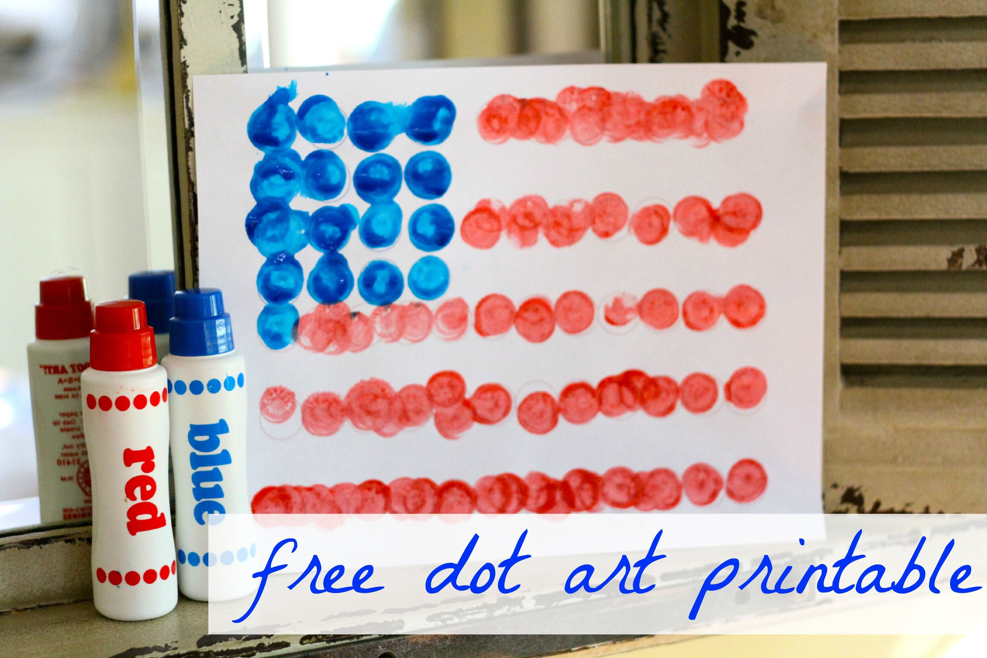 Dot Art Flag Free Printable