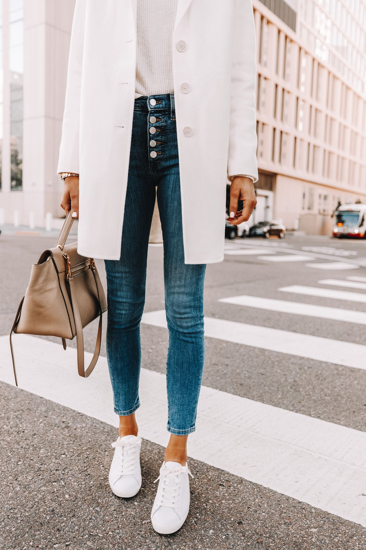 Photo of how to style a white coat, spring outfit for women, weekend outfit for women
