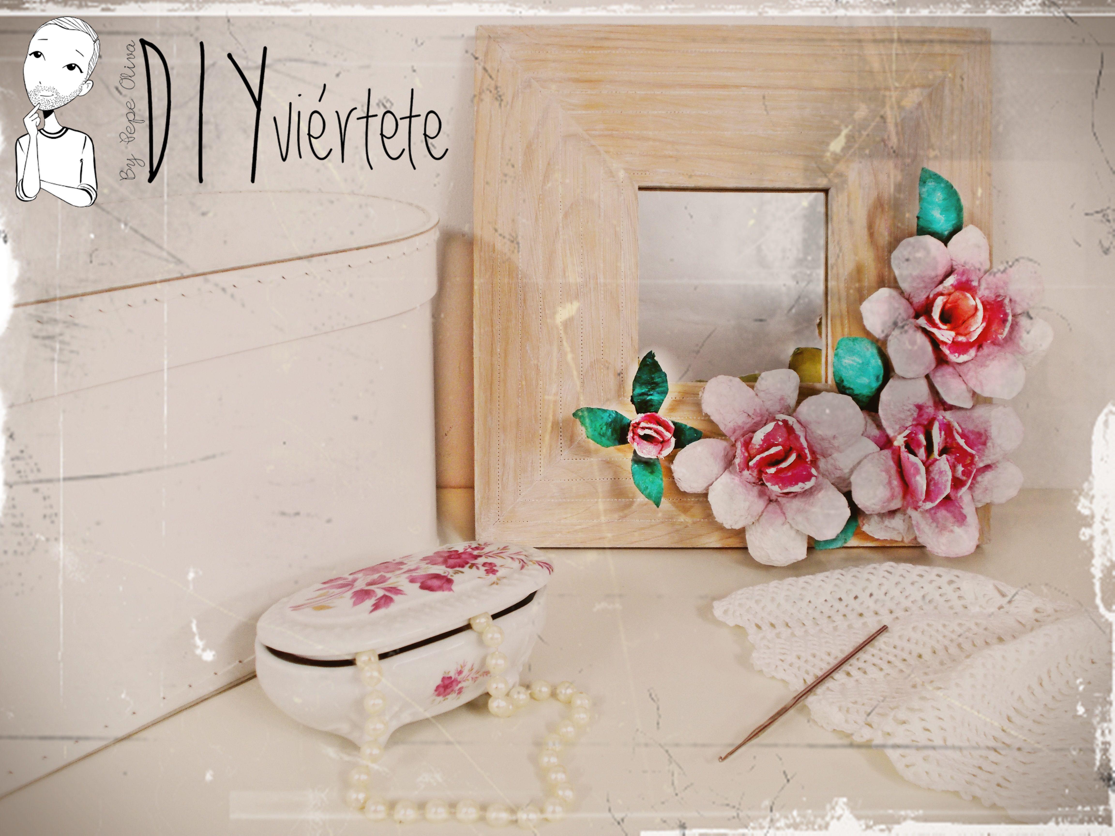 Reciclando hueveras de cart n para decorar un espejo - Manualidades con hueveras ...