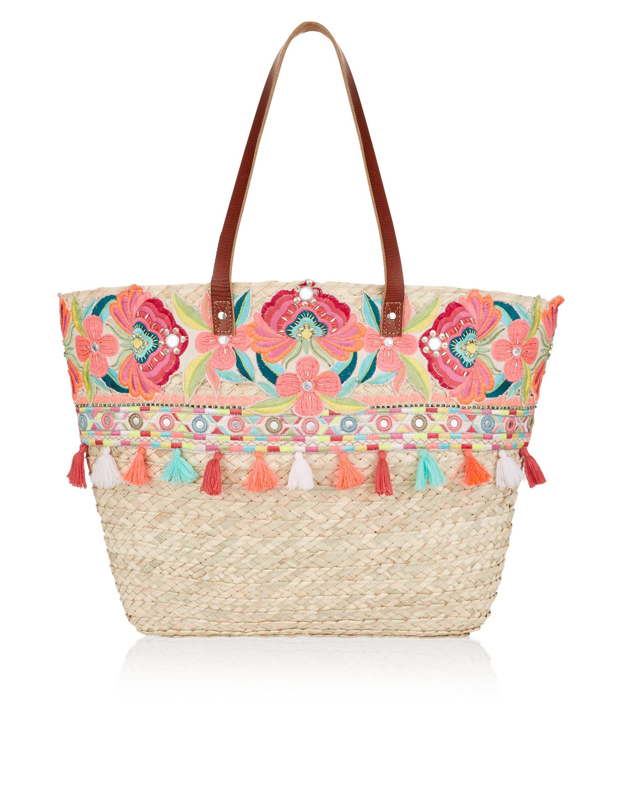 For Bali Straw Embellished Beach Tote Bag By Accessorize At Style