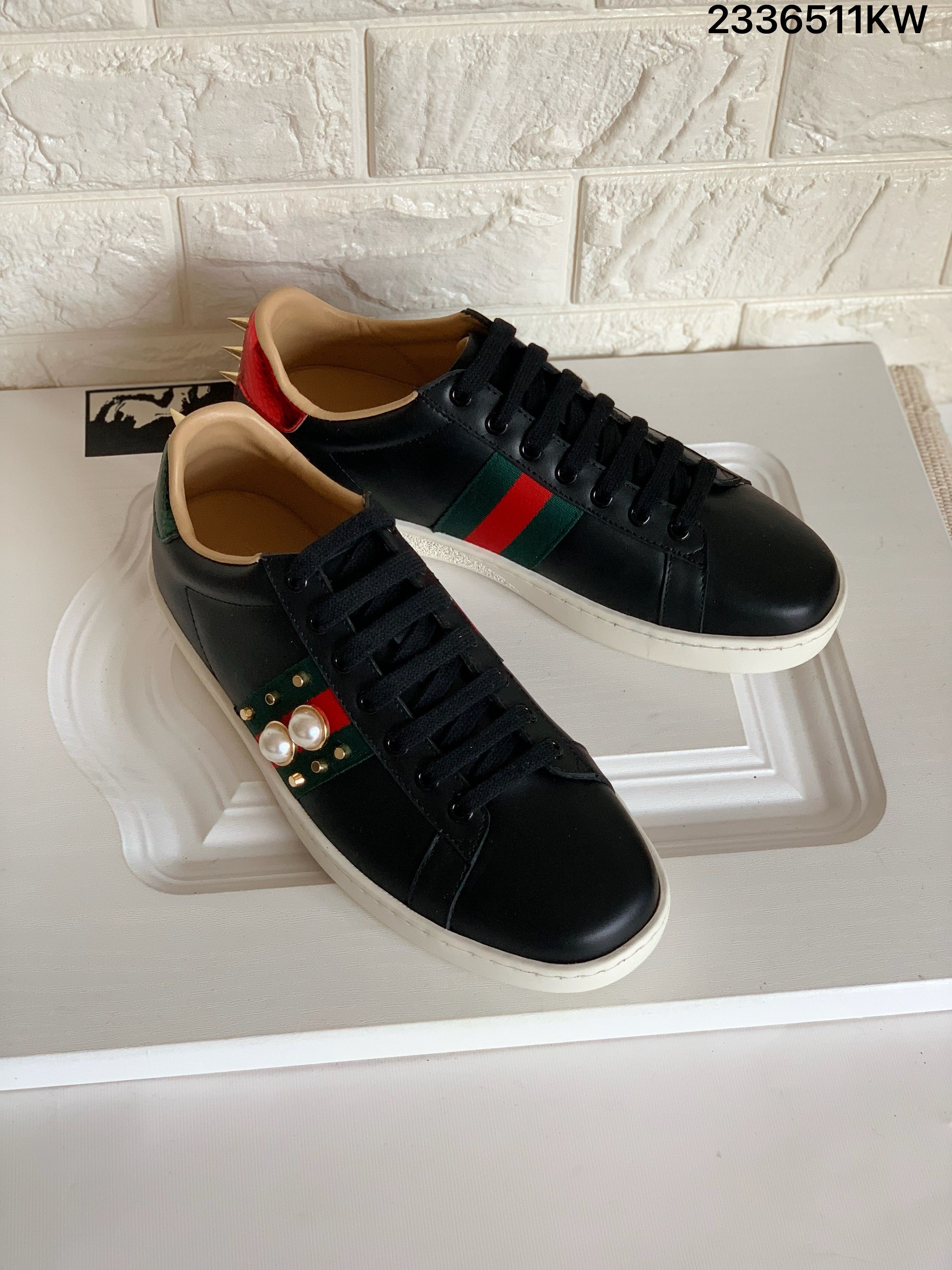 Gucci Ace Sneakers Black Leather Shoes Pearls Spikes Gucci Ace Sneakers Black Leather Shoes Sneakers Black