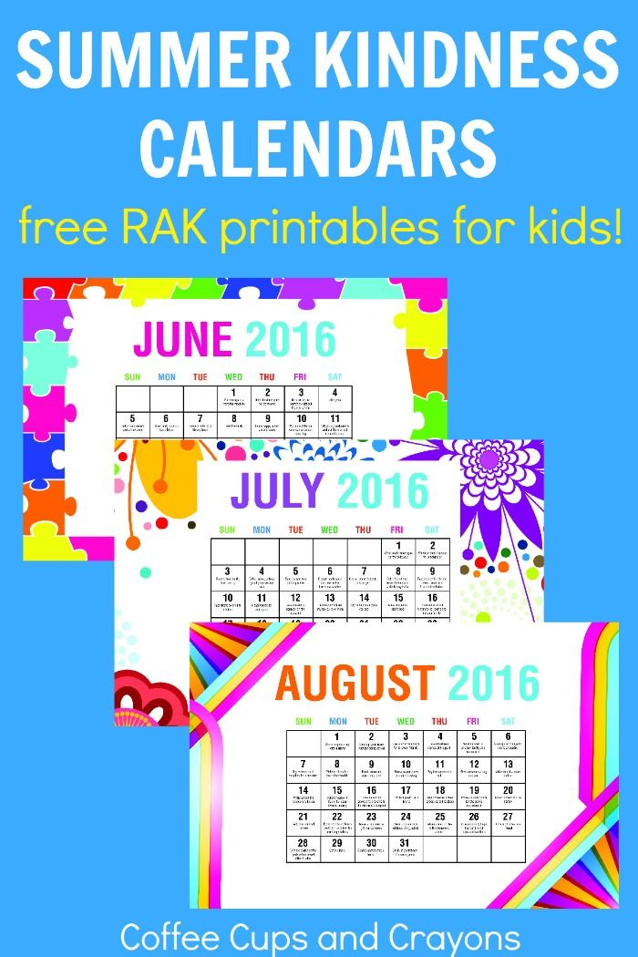 Free printable summer kindness calendars for kids! Perfect for families, classes and camps to use to do good this summer!