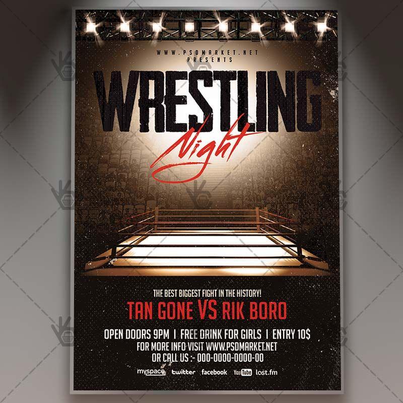 Wrestling Night - Premium Flyer PSD Template #box #boxing - baseball flyer