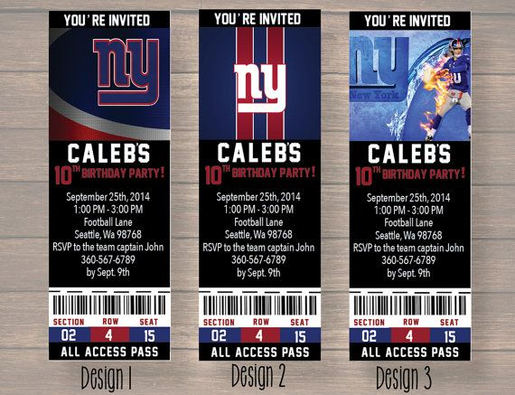 quality design 112e7 5f18e birthday ticket birthday Party New York Giants by ...
