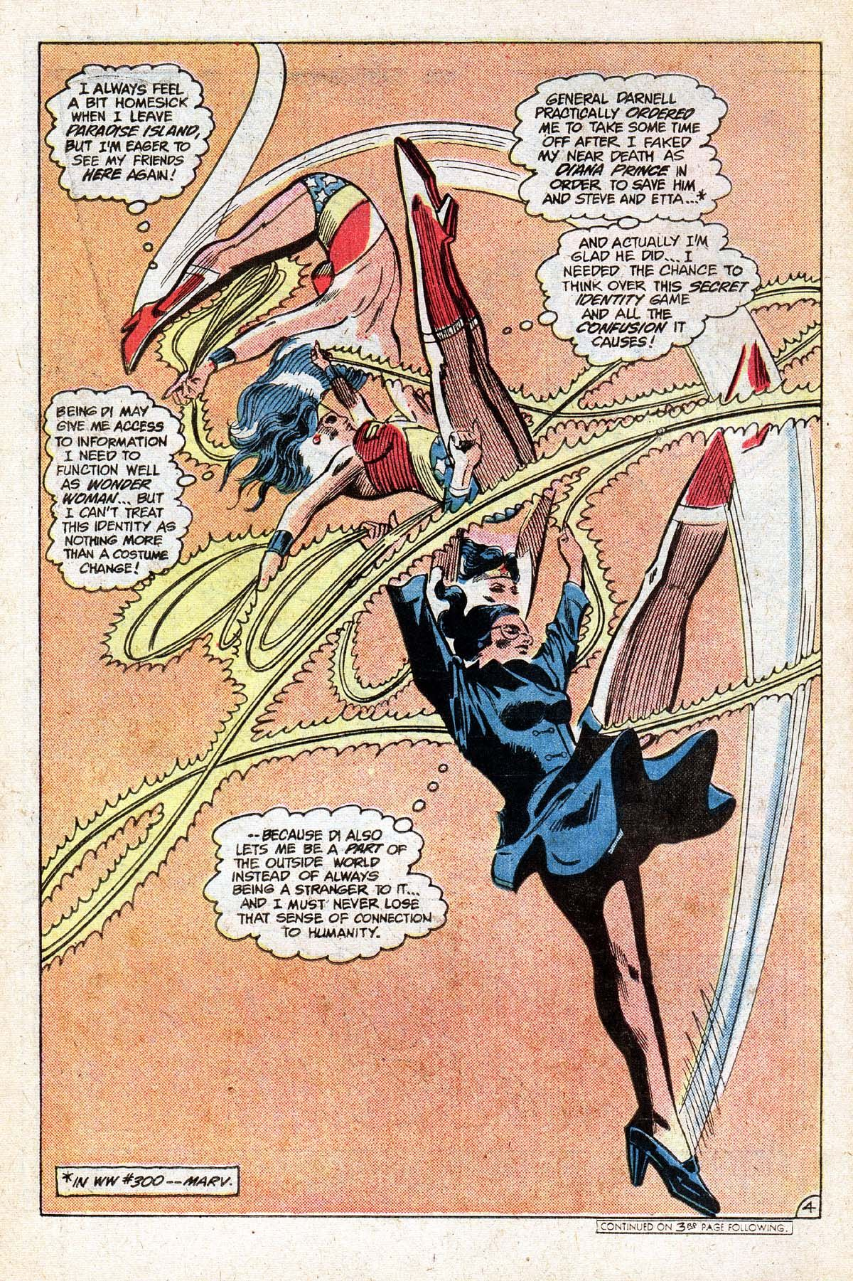 Wonder Woman as mid-air tumbler, changing into Diana Prince. From Wonder Woman # 303, May 1983. Art by the great Gene Colan.