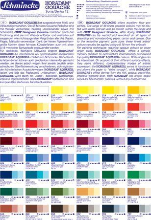 Schmincke Horadam Gouache Colour Chart Http Www Jacksonsart Com