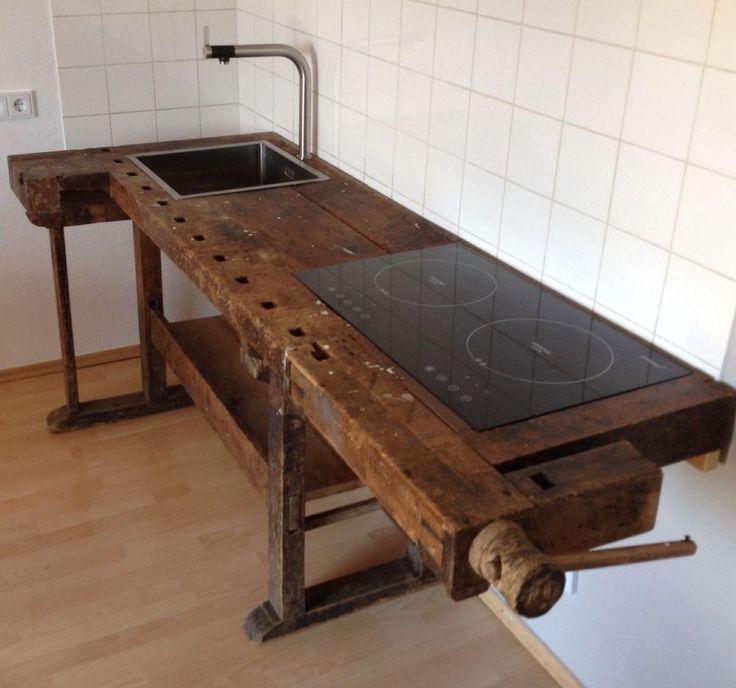 22 Kücheninsel Mit Tisch Modelle: Loftmöbel Industrie Vintage Werkbank Design Küche In