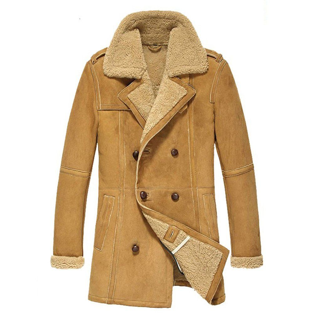 Cwmalls Men's Winter Shearling Sheepskin Pea Coat X-Small | My ...