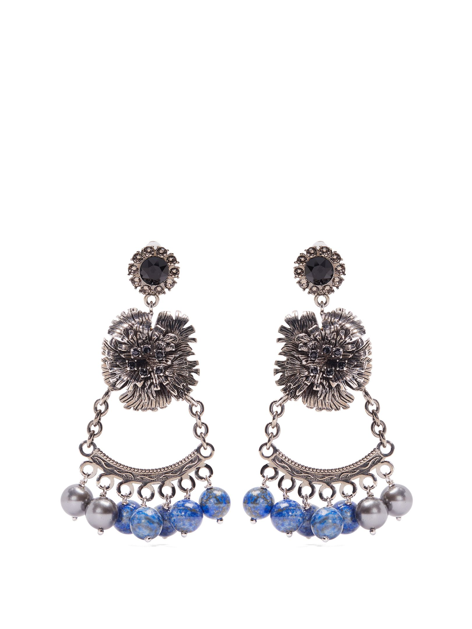 Erdem Bead-embellished flower-drop clip-on earrings 12q1B