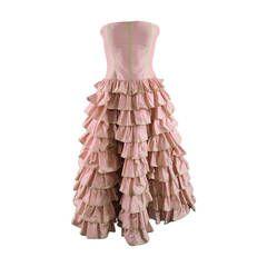 OSCAR DE LA RENTA Size 4 Rose Silk  Multi Ruffles Layers Skirt Cocktail Dress