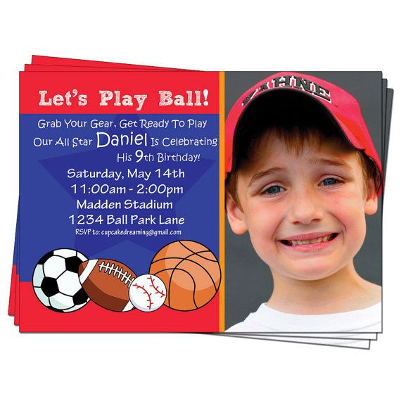 Sports Birthday Invites Football Invitations by CupcakeDream - free birthday invitation templates with photo