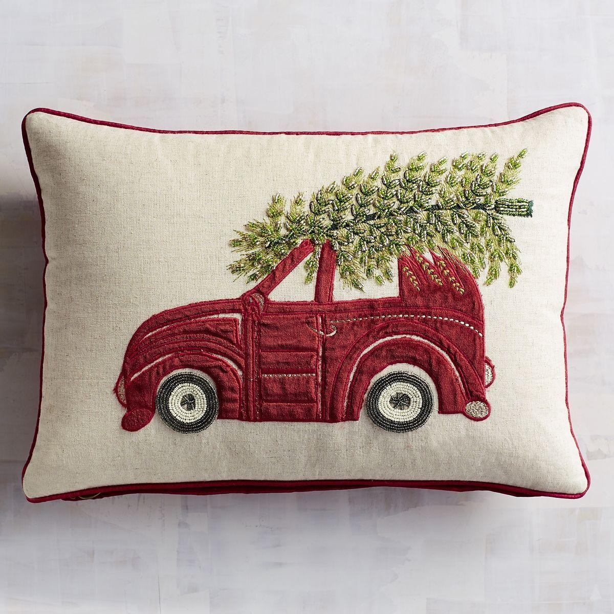 Beaded Tree on Car Lumbar Pillow | Pier 19 Imports | Winter ...