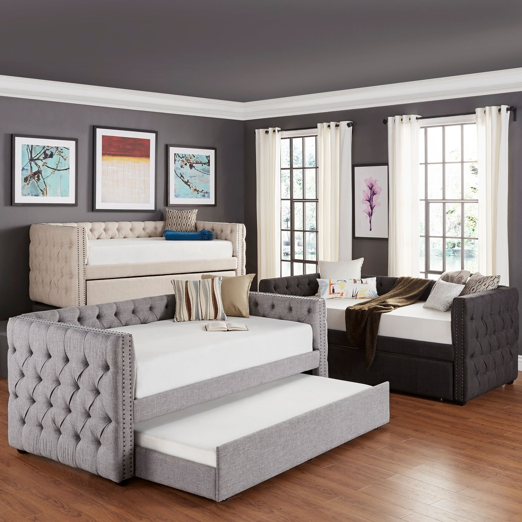Overstock Daybeds With Trundle : Knightsbridge tufted nailhead chesterfield daybed and