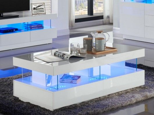 Table Basse Fabio Mdf Laque Blanc Leds 2 Tiroirs 2 Niches