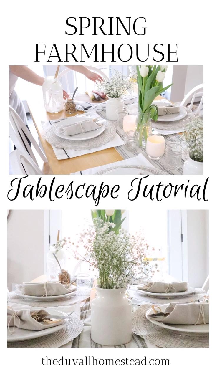 Photo of Simple Spring Farmhouse Table Setting