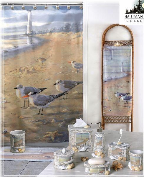 Merveilleux Creative Bath   At The Beach Bathroom Accessories. Lighthouse Beach Scene  Shower Curtain And Matching