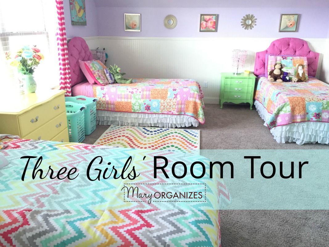 3 Girls Shared Bedroom Tour Creatingmaryshome Com Shared Girls Bedroom Shared Girls Room Shared Bedroom