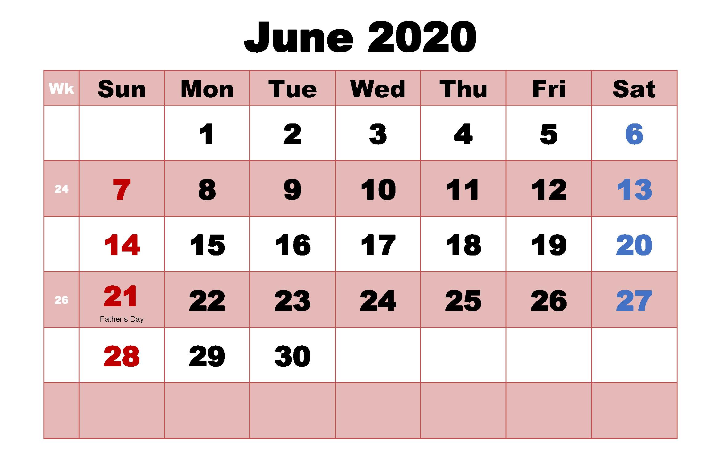 June 2020 Calendar With Holidays Usa Uk Canada India