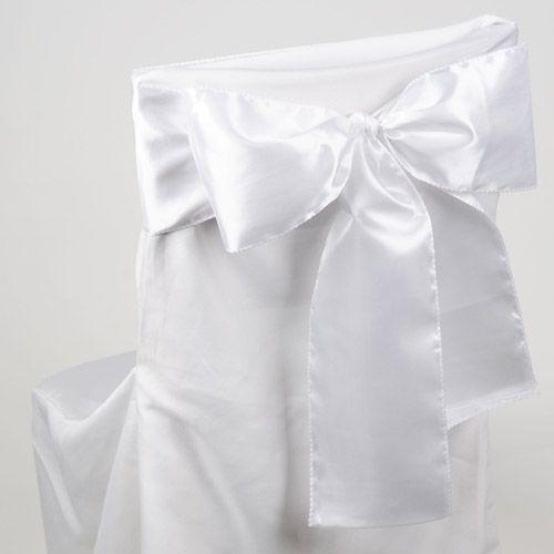 White #Satin Chair_Sash 10 Pieces http://www.yourweddinglinen.com/White-Satin-Chair-Sash-10-Pieces-p/xb33801.htm