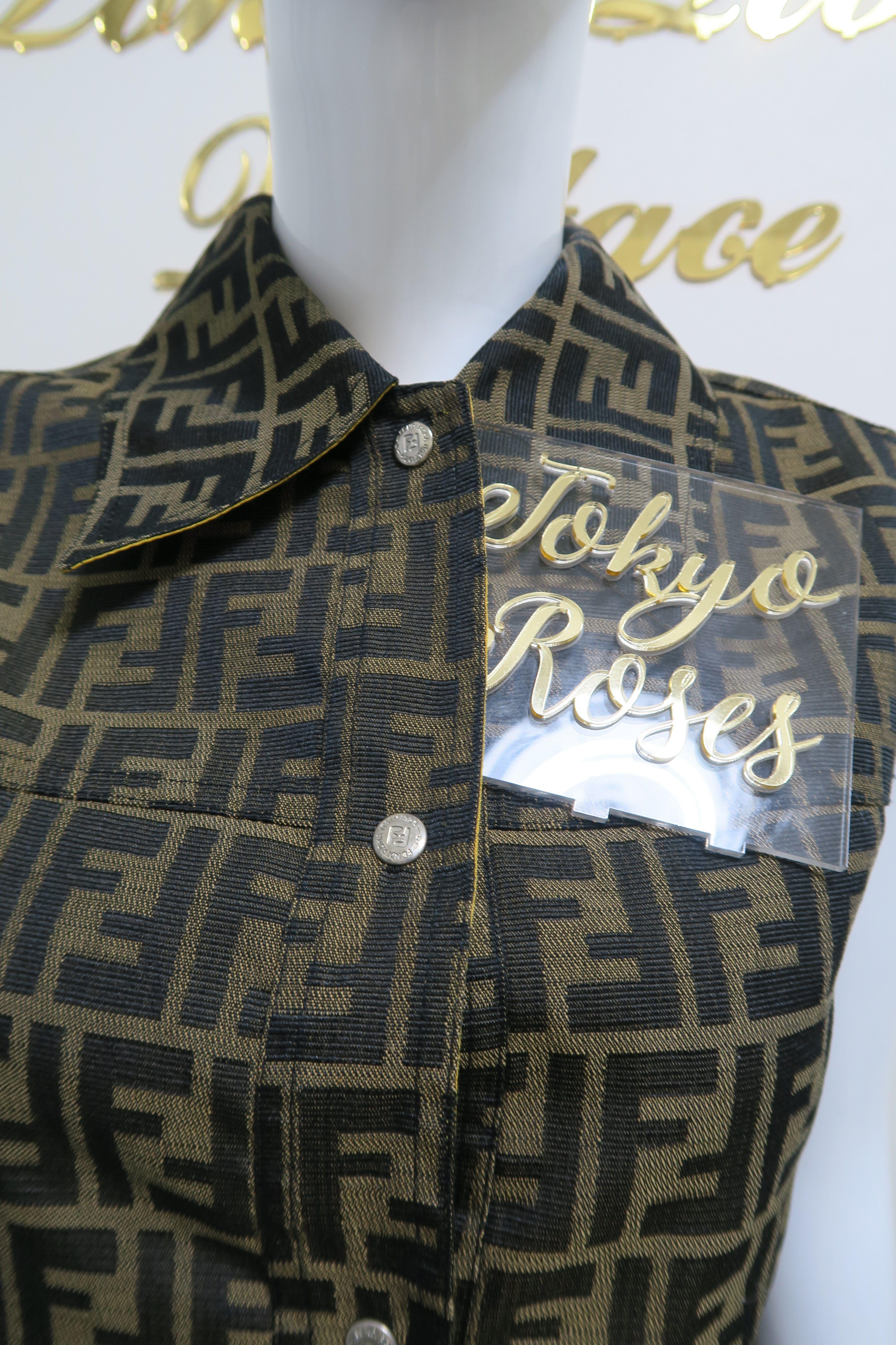 Fendi Ff Logo Print Zucca Reversible Vest Jacket Yellow Innter Reversible Vest Vest Jacket Fendi Clothing