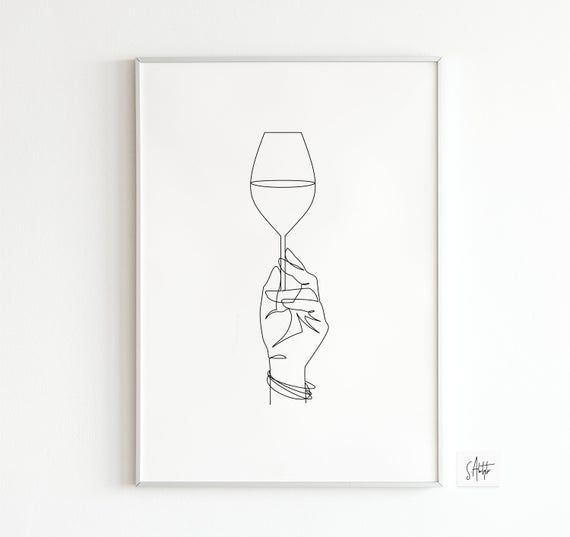 Wine Single Line Art | Hand with Champagne Line Drawing | One Line Print | Wine Glass Print | Champagne Glass Single Line Art | Celebration.