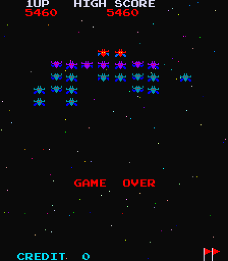 galaxian sprites game over retro gaming
