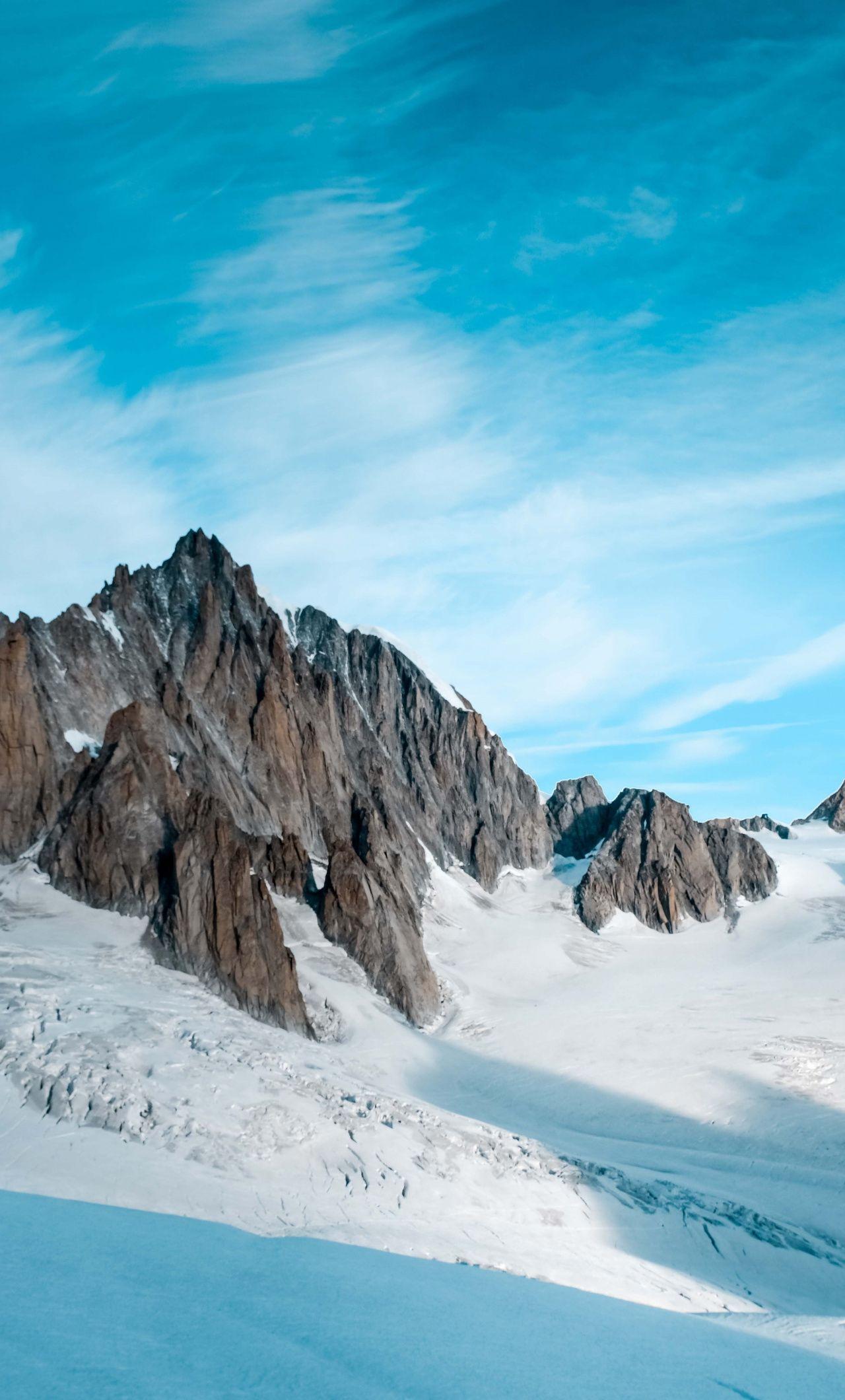 1280x2120 Winter, glacier, rocky cliffs wallpaper Beach
