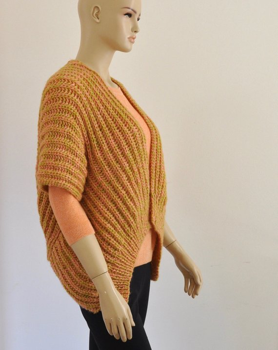 Knit Sweater Cardigan Vest Chunky Wrap Sweater Coral Green