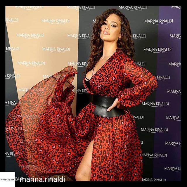689871af1b4 Plus Size Model Ashley Graham in a red leopard print dress by Italian  Fashion Label Marina Rinaldi