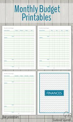 monthly family budget printables organizing pinterest