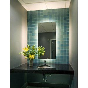 Led Lights Behind The Mirror Reflect Off The Faux Tile Wallpaper Lovely Backlit Bathroom Mirror Blue Bathroom Tile Backlit Mirror