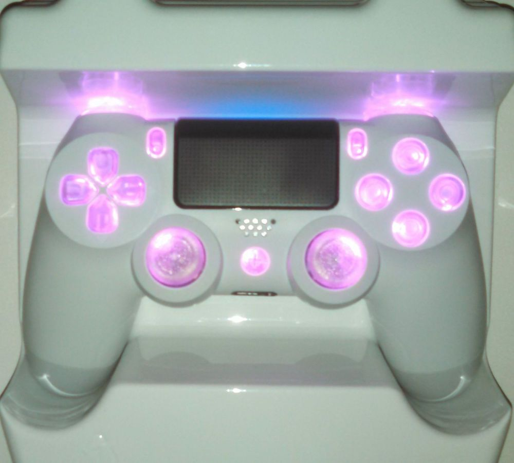 White PS4 Controller Custom Pink LED Mod [Strong Durable