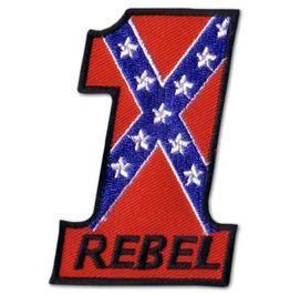 Number 1 Confederate Rebel Iron Patch Badge #47