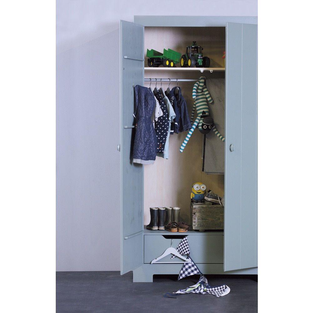 armoire en pin massif nikki   chambre d'enfant - drawer.fr   armoire