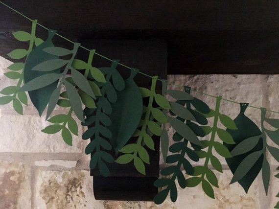 Photo of Green Woodland Forest Leaf Mix Paper Garland | Wedding Photo Backdrop, Forest Baby Shower Banner, Boho Nursery Decor | Spring Mantle Decor