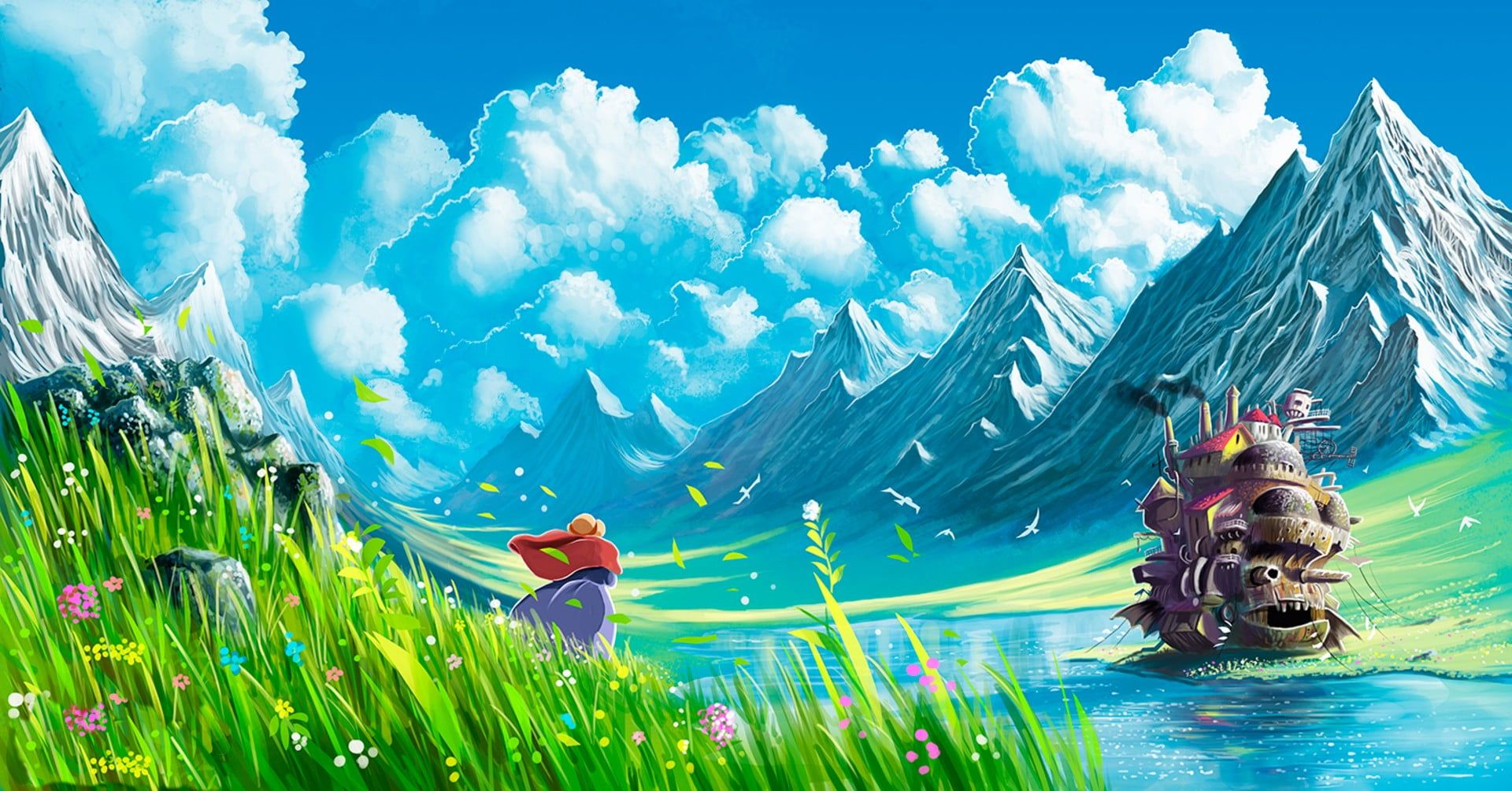 Game Digital Wallpaper Studio Ghibli Howl S Moving Castle Mountains Anime Landscape 1080p Wa Digital Wallpaper Howls Moving Castle Wallpaper Studio Ghibli