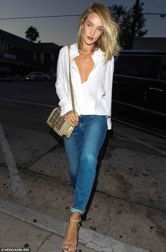 Rosie Huntington-Whiteley wearing Frame Denim Le Garcon Mid Rise ...