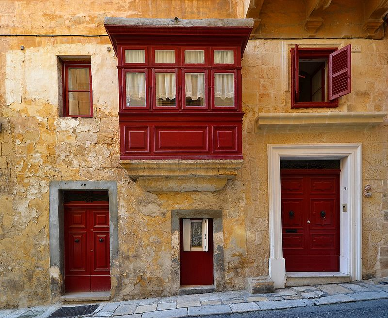 A house with a little door in Valletta in Malta